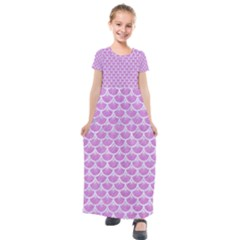 Scales3 White Marble & Purple Colored Pencil Kids  Short Sleeve Maxi Dress