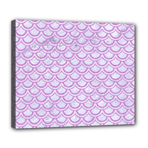 Scales2 White Marble & Purple Colored Pencil (r) Deluxe Canvas 24  X 20   by trendistuff