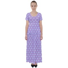 Scales2 White Marble & Purple Colored Pencil (r) High Waist Short Sleeve Maxi Dress