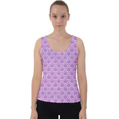 Scales2 White Marble & Purple Colored Pencil Velvet Tank Top by trendistuff