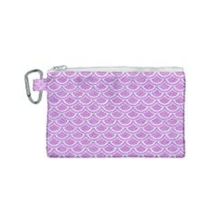 Scales2 White Marble & Purple Colored Pencil Canvas Cosmetic Bag (small) by trendistuff
