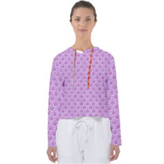 Scales2 White Marble & Purple Colored Pencil Women s Slouchy Sweat