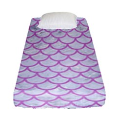 Scales1 White Marble & Purple Colored Pencil (r) Fitted Sheet (single Size) by trendistuff