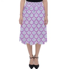 Scales1 White Marble & Purple Colored Pencil (r) Folding Skater Skirt