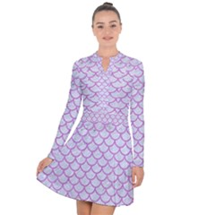Scales1 White Marble & Purple Colored Pencil (r) Long Sleeve Panel Dress by trendistuff