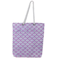 Scales1 White Marble & Purple Colored Pencil (r) Full Print Rope Handle Tote (large) by trendistuff