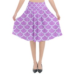 Scales1 White Marble & Purple Colored Pencil Flared Midi Skirt