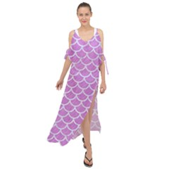 Scales1 White Marble & Purple Colored Pencil Maxi Chiffon Cover Up Dress