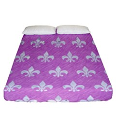 Royal1 White Marble & Purple Colored Pencil (r) Fitted Sheet (california King Size) by trendistuff