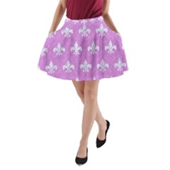 Royal1 White Marble & Purple Colored Pencil (r) A Line Pocket Skirt