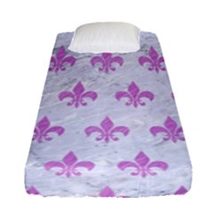 Royal1 White Marble & Purple Colored Pencil Fitted Sheet (single Size) by trendistuff