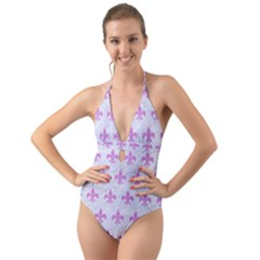 Royal1 White Marble & Purple Colored Pencil Halter Cut Out One Piece Swimsuit