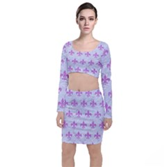 Royal1 White Marble & Purple Colored Pencil Long Sleeve Crop Top & Bodycon Skirt Set