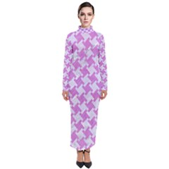 Houndstooth2 White Marble & Purple Colored Pencil Turtleneck Maxi Dress