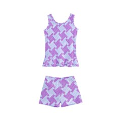 Houndstooth2 White Marble & Purple Colored Pencil Kid s Boyleg Swimsuit