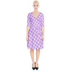 Houndstooth2 White Marble & Purple Colored Pencil Wrap Up Cocktail Dress