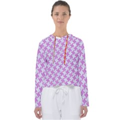 Houndstooth2 White Marble & Purple Colored Pencil Women s Slouchy Sweat