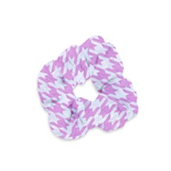 Houndstooth1 White Marble & Purple Colored Pencil Velvet Scrunchie by trendistuff