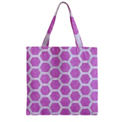 Hexagon2 White Marble & Purple Colored Pencil Zipper Grocery Tote Bag by trendistuff