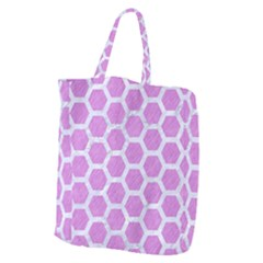 Hexagon2 White Marble & Purple Colored Pencil Giant Grocery Zipper Tote by trendistuff