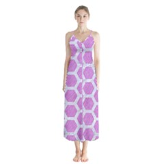 Hexagon2 White Marble & Purple Colored Pencil Button Up Chiffon Maxi Dress