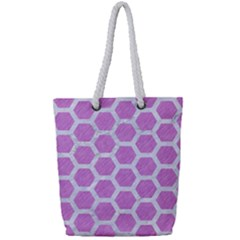 Hexagon2 White Marble & Purple Colored Pencil Full Print Rope Handle Tote (small) by trendistuff