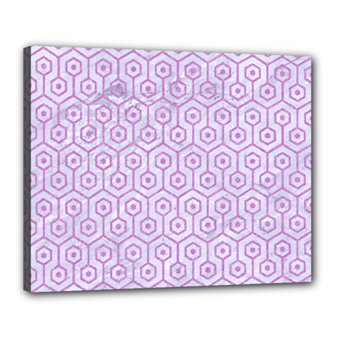 Hexagon1 White Marble & Purple Colored Pencil (r) Canvas 20  X 16  by trendistuff