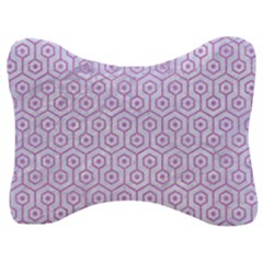 Hexagon1 White Marble & Purple Colored Pencil (r) Velour Seat Head Rest Cushion
