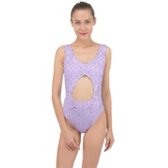 Hexagon1 White Marble & Purple Colored Pencil (r) Center Cut Out Swimsuit