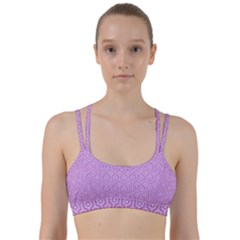 Hexagon1 White Marble & Purple Colored Pencil Line Them Up Sports Bra by trendistuff