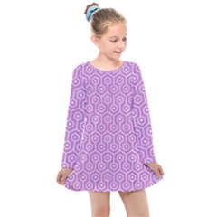 Hexagon1 White Marble & Purple Colored Pencil Kids  Long Sleeve Dress by trendistuff