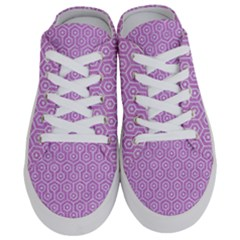 Hexagon1 White Marble & Purple Colored Pencil Half Slippers