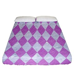 Diamond1 White Marble & Purple Colored Pencil Fitted Sheet (queen Size) by trendistuff