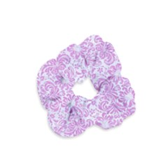 Damask2 White Marble & Purple Colored Pencil (r) Velvet Scrunchie by trendistuff