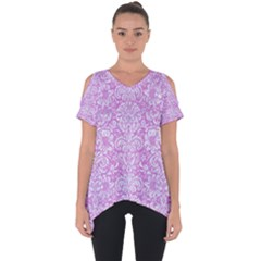 Damask2 White Marble & Purple Colored Pencil Cut Out Side Drop Tee