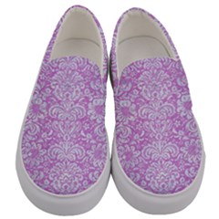 Damask2 White Marble & Purple Colored Pencil Men s Canvas Slip Ons