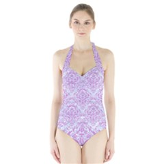 Damask1 White Marble & Purple Colored Pencil (r) Halter Swimsuit by trendistuff