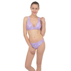 Damask1 White Marble & Purple Colored Pencil (r) Classic Banded Bikini Set