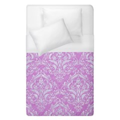 Damask1 White Marble & Purple Colored Pencil Duvet Cover (single Size) by trendistuff