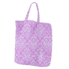 Damask1 White Marble & Purple Colored Pencil Giant Grocery Zipper Tote by trendistuff