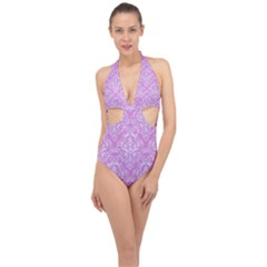 Damask1 White Marble & Purple Colored Pencil Halter Front Plunge Swimsuit