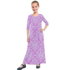 Damask1 White Marble & Purple Colored Pencil Kids  Quarter Sleeve Maxi Dress by trendistuff