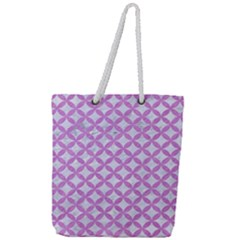 Circles3 White Marble & Purple Colored Pencil (r) Full Print Rope Handle Tote (large) by trendistuff