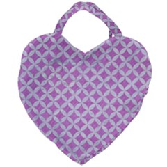 Circles3 White Marble & Purple Colored Pencil Giant Heart Shaped Tote by trendistuff