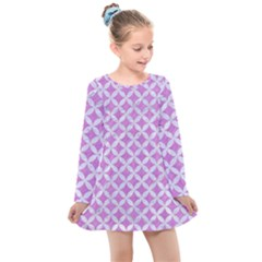 Circles3 White Marble & Purple Colored Pencil Kids  Long Sleeve Dress