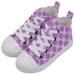 Circles2 White Marble & Purple Colored Pencil (r) Kid s Mid Top Canvas Sneakers by trendistuff