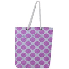 Circles2 White Marble & Purple Colored Pencil (r) Full Print Rope Handle Tote (large) by trendistuff