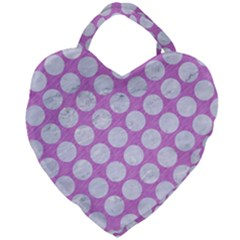 Circles2 White Marble & Purple Colored Pencil Giant Heart Shaped Tote by trendistuff