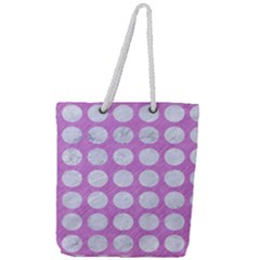 Circles1 White Marble & Purple Colored Pencil Full Print Rope Handle Tote (large) by trendistuff
