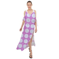 Circles1 White Marble & Purple Colored Pencil Maxi Chiffon Cover Up Dress